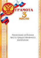 """Грамота именная """"3 место"""" (артикул 67588696)"""