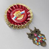 """Наградная розетка Премиум (тёмно-красная) не именная """"Мудрая сова"""""""