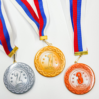 "Комплект закатных медалей ""1, 2, 3 место"" с лентами триколор. (артикул 943211994)"