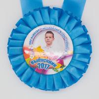 Розетка-медаль наградная, с фото, голубая.
