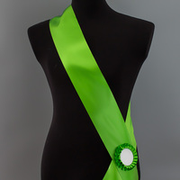 Лента наградная с розеткой. Цвет зеленый.