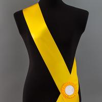 Лента наградная с розеткой. Цвет желтый.