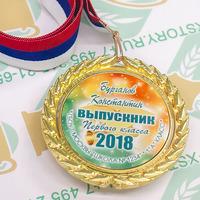 Медаль Выпускник 1 класса премиум, именные, металл. (артикул 774710181)